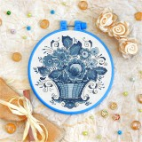 Cross stitch kit «T-0140 Blue Basket of Flowers»