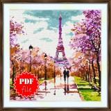 Cross stitch pattern «pdf-S-0005 Strolling in Paris»