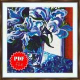 Cross stitch pattern «pdf-S-0015 Blue Lilies»