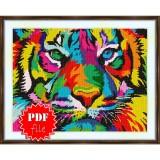 Cross stitch pattern «pdf-S-0026 Rainbow Tiger»