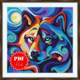 Cross stitch pattern «pdf-S-0036 Stylized Wolf»