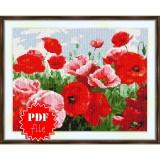 Cross stitch pattern «pdf-S-0046 Bright Red Poppies»