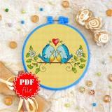 Cross stitch pattern «pdf-T-0025 The Love Birds»