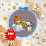 Cross stitch pattern «pdf-T-0045 The Snowman &The Hedgehog»