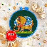 Cross stitch pattern «pdf-T-0105 Elephant with Blanket»