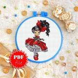 Cross stitch pattern «pdf-T-0115 Red Bow &Petticoats»