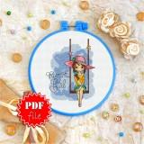 Cross stitch pattern «pdf-T-0125 Romantic Girl»