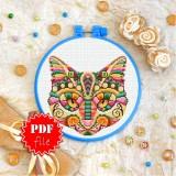 Cross stitch pattern «pdf-T-0167 Mandala Cat»