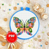 Cross stitch pattern «pdf-T-0177 Mandala Butterfly»