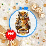 Cross stitch pattern «pdf-T-0198 Steampunk Owl»