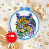 Cross stitch pattern «pdf-T-0220 Mandala Cat»