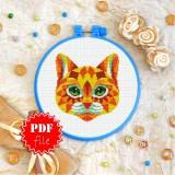 Cross stitch pattern «pdf-T-0250 Mandala Sunny Cat»