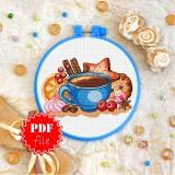 Cross stitch pattern «pdf-T-0264 Coffee Still Life»