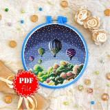 Cross stitch pattern «pdf-T-0311 Night Balloons»