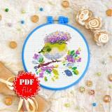 Cross stitch pattern «pdf-T-0322 Yellow Bird»