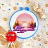 Cross stitch pattern «pdf-T-0404 Pink Sunset»