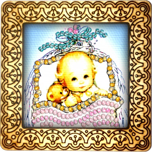 Magnet bead embroidery kit «M-0013 Baby in the Basket»