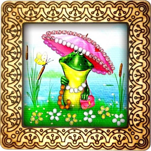 Magnet bead embroidery kit «M-0123 Frog Pond»