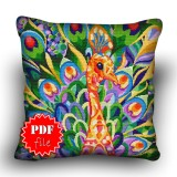 Pillow Cross stitch pattern «pdf-H-0006 Proud Peacock»