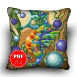 Pillow Cross stitch pattern «pdf-H-0016 Winged Seahorse»