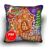 Pillow Cross stitch pattern «pdf-H-0026 Gingerbread Cottage»