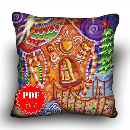 Pillow Cross stitch pattern «pdf-H-0026 Gingerbread Cottage»