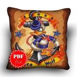 Pillow Cross stitch pattern «pdf-H-0036 Sea Wolf Donald»