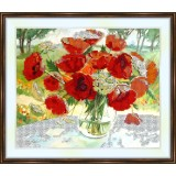 Bead embroidery kit «A-0116 Poppies with Queen Ann's Lace»