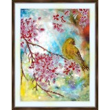 Bead embroidery kit «A-0297 Yellow Bird on the Cherry Branch»