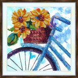 Bead embroidery kit «A-0407 Bicycle Basket Bouquet»
