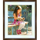 Bead embroidery kit «K-0085 Friends Playing at the Lake»