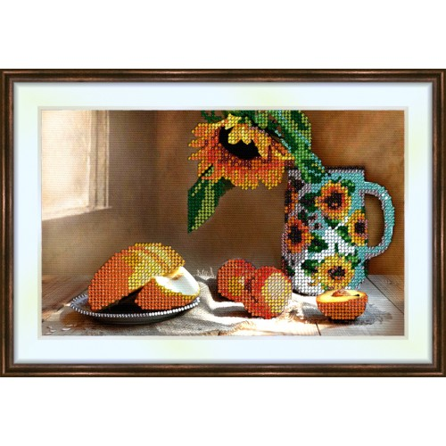 Bead embroidery kit «K-0125 Fruit and a Sunflower»