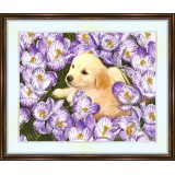 Bead embroidery kit «K-0135 Puppy in the Crocus Bed»