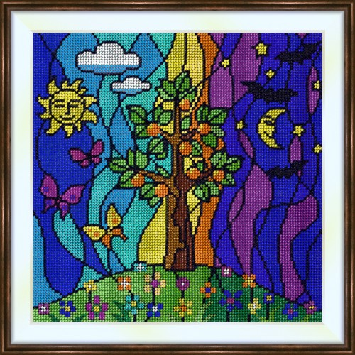Bead embroidery kit «K-0186 Tree of Life Under the Moon and Sun»