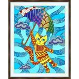 Bead embroidery kit «K-0206 Kitty Adrift on the Breeze»