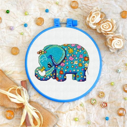 Cross stitch kit «T-0001 Flowered Blue Elephant»