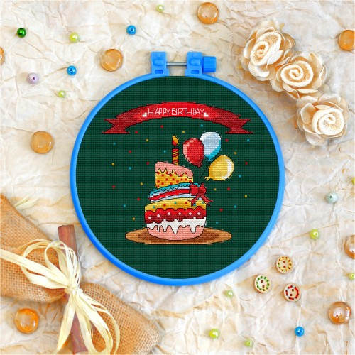 Cross stitch kit «T-0051 Happy Birhday Cake»
