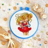 Cross stitch kit «T-0081 Red Dress 'n Blue Pearls»