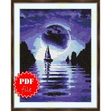 Cross stitch pattern «pdf-S-0006 Sailboat in the Night»