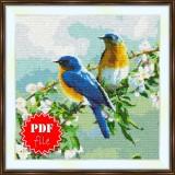 Cross stitch pattern «pdf-S-0027 Birds on a Branch»