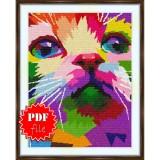 Cross stitch pattern «pdf-S-0047 Colorful Cat»
