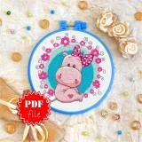 Cross stitch pattern «pdf-T-0026 Miss Hippo»