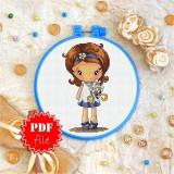 Cross stitch pattern «pdf-T-0046 Little Girl with Chamomile»