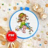 Cross stitch pattern «pdf-T-0066 Sitting on a Branch»