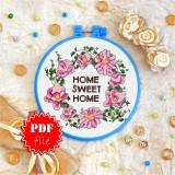 Cross stitch pattern «pdf-T-0136 Home Sweet Home 3»