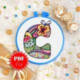 Cross stitch pattern «pdf-T-0189 Letter C»