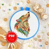Cross stitch pattern «pdf-T-0209 Mandala Wolf»