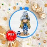 Cross stitch pattern «pdf-T-0276 Girl in Blue»