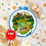 Cross stitch pattern «pdf-T-0415 House in the Mountains»