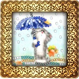 Magnet bead embroidery kit «M-0004 Kitty in the Rain»